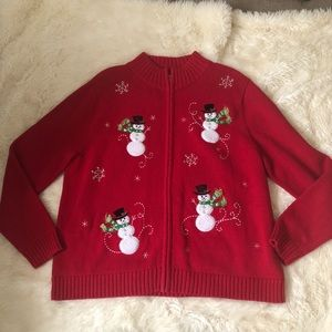 Snowman sweater zip up red Christmas plus size 16